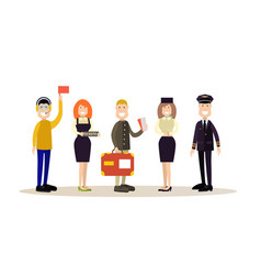 airport people in flat style vector image