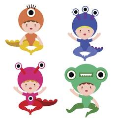 Baby in monster costume set vector image vector image