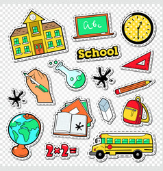 back to school doodle educational stickers vector image vector image