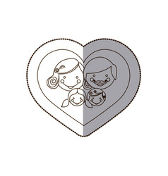Beutiful family inside the heart icon vector