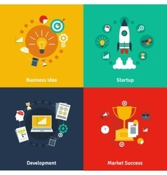 Business concept 4 flat icons square vector image vector image