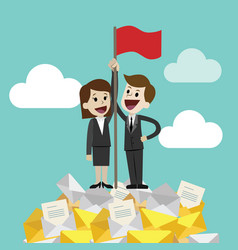businessman and businesswoman standing on a huge vector image vector image