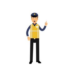 cartoon traffic policeman standing and showing vector image vector image