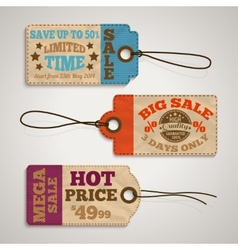 Collection of cardboard sale price tags vector image vector image