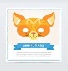 Colorful cat masquerade mask cute domestic animal vector
