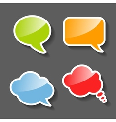 Colorful Paper Speech Bubbles Set vector image