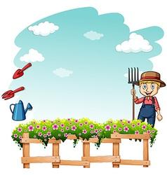 Farmer at the garden vector
