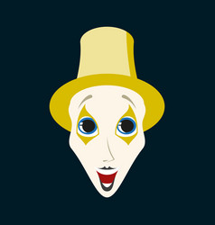 Flat icons on theme funny clown mime vector