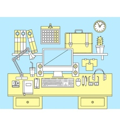 Flat modern design concept of office workspace vector image vector image