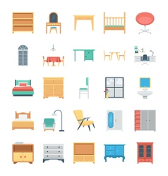 Furniture Colored Icons 6 vector image