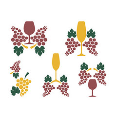 Grape wine glass decoration vector image