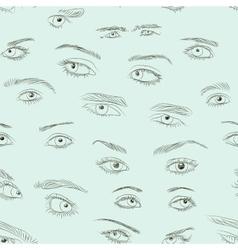 Hand drawn eyes set pattern vector