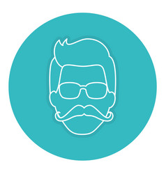 Hipster man head character vector