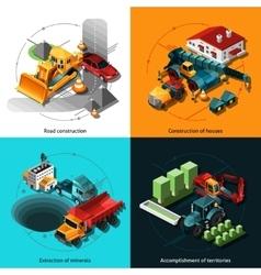 Isometric construction machines vector