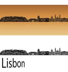 Lisbon V2 skyline in orange vector image