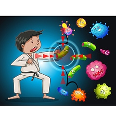 Man in karate clothes fighting bacteria vector