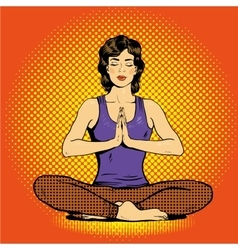 Meditating woman with speech bubble in retro pop vector