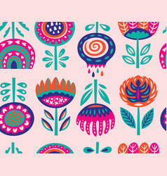 Seamless pattern with scandinavian flowers vector