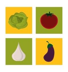 Set fresh vegetable vegetarian cuisine vector