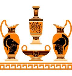 Set of hellenic vases stencils vector