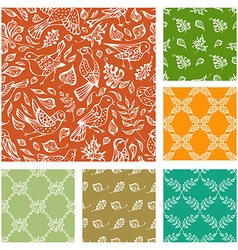 set of seamless nature patterns vector image