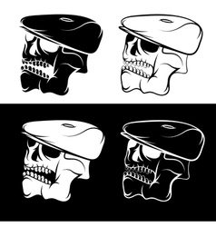 set of skulls in the cap abstract design template vector image vector image