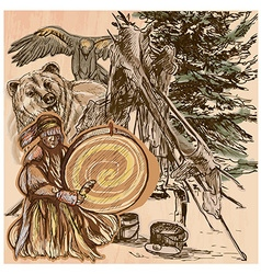 Shaman bear and eagle an hand drawn picture line vector
