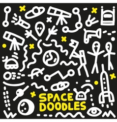 space - doodles set vector image