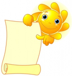 sun shows a scroll vector image vector image