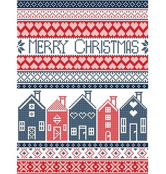 Swedish houses merry christmas in blue and red vector