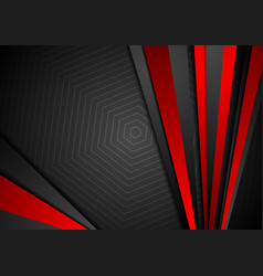 tech black background with contrast red stripes vector image vector image