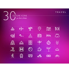 Travel concept outline icons set vector image