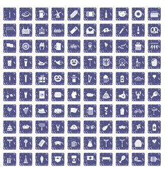 100 beer party icons set grunge sapphire vector