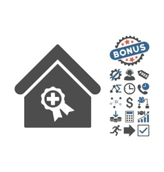 Certified clinic building flat icon with vector