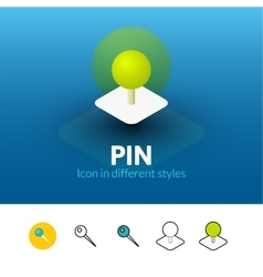 Pin icon in different style vector