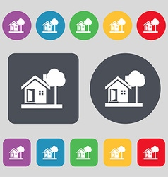 House icon sign a set of 12 colored buttons flat vector