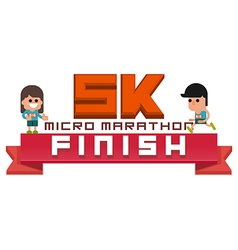 Micro marathon 5k running finish vector