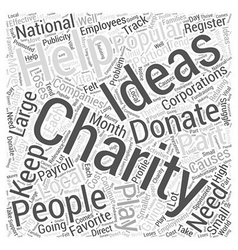 Charity ideas word cloud concept vector