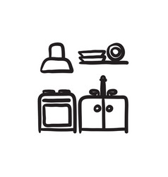 Kitchen interior sketch icon vector