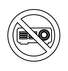 Video projector with denied sign vector
