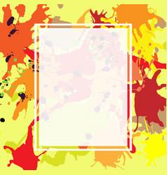 Red orange maroon ink splashes ellipse frame vector