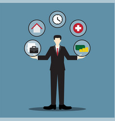 Businessman balance life vector