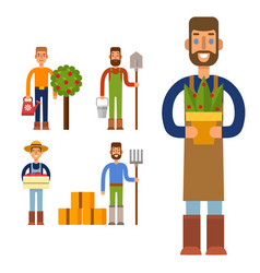 Farmer character man agriculture person profession vector