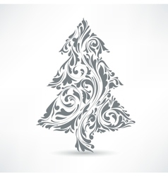 Christmas tree Floral motif Design element vector image