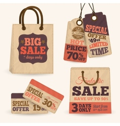 Collection of paper sale price tags vector image