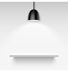 Black ceiling lamp and empty white shelf on a vector