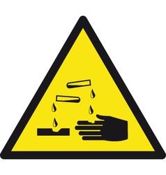 Danger Corrosive Safety Sign vector image