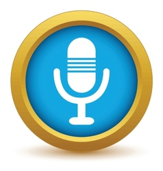Gold microphone icon vector