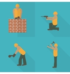 Construction worker flat icon set design template vector