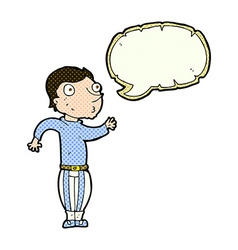 Cartoon man in loud clothes with speech bubble vector